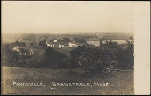 Pondsville from the southwest, with Mystic Lake on the right with The Plains stretching to the horizon