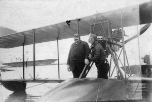 Benoist Type XIV flying boat airplane, with owner Dr. Higgins in Florida