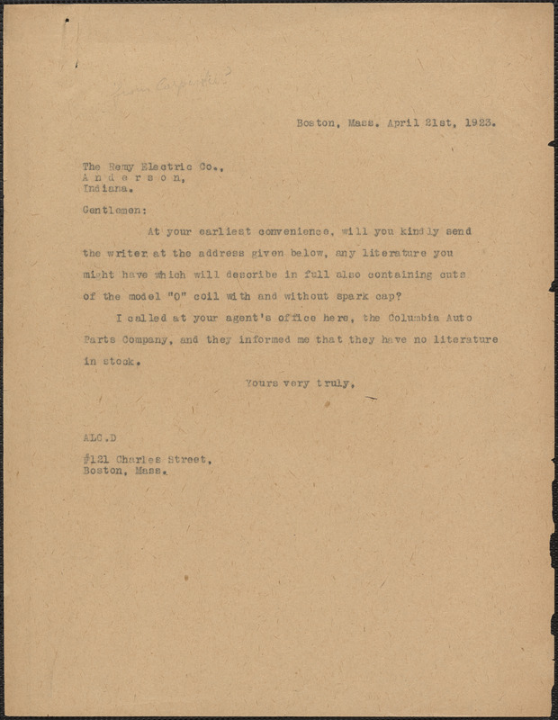 [A. Carpenter?] typed note (copy) to Remy Electric Co., Boston, Mass., April 21, 1923