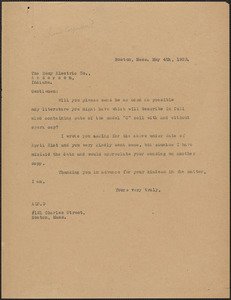 [A. Carpenter?] typed letter (copy) to Remy Electric Co., Boston, Mass., May 4, 1923