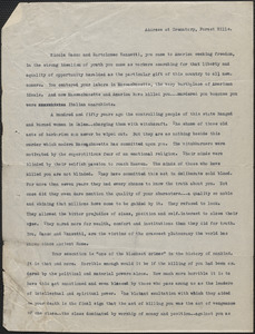 Sacco-Vanzetti Defense Committee typed document, Boston, Mass., August 28, 1927: Address at Crematory, Forest Hills