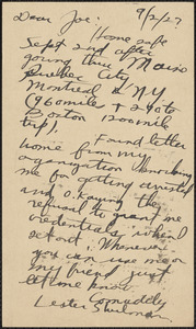 Lester Shulman (Socialist Youth Campaign Committee) autograph note signed (postcard) to Joseph Moro, Brooklyn, N. Y., September 2, 1927