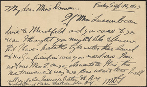 MDG autograph note (postcard) to Mary Donovan, Newburyport, Mass., September 16, 1927