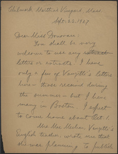 Alice Stone Blackwell autograph letter signed to Mary Donovan, Chilmark, Mass., September 22, 1927