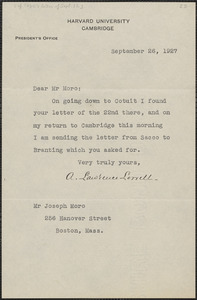 A. Lawrence Lowell typed note signed to Joseph Moro, Cambridge, Mass., September 26, 1927