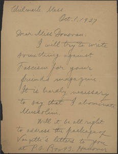 Alice Stone Blackwell autograph letter signed to Mary Donovan, Chilmark, Mass., October 1, 1927