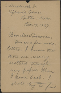 Alice Stone Blackwell autograph note signed to Mary Donovan, Boston, Mass., October 17, 1927