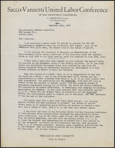 Anna Cornblath (Sacco-Vanzetti United Labor Conference of San Francisco) typed letter signed to Sacco-Vanzetti Defense Committee, San Francisco, Calif., October 29, 1927