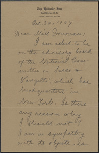 Alice Stone Blackwell autograph note signed to Mary Donovan, East Hebron, N. H., October 30, 1927