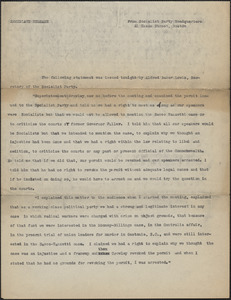 Alfred Baker Lewis (Socialist Party, New England District) press release, Boston, Mass, [December 1927]