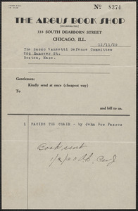 The Argus Book Shop typed note to the Sacco-Vanzetti Defense Committee, Chicago, Ill., December 11, 1929