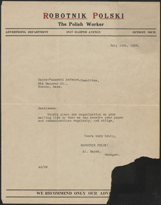A. Gayek (Robotnik Polski - The Polish Worker) typed note to Sacco-Vanzetti Defense Committee, Detroit, Mich., July 14, 1928