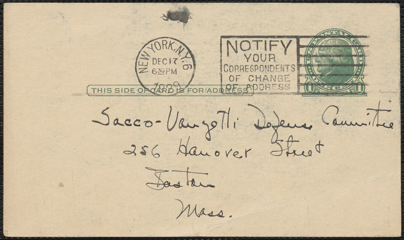 Dauber & Pine Bookshops, Inc. autograph postcard to Sacco-Vanzetti Defense Committee, December 17, 1929