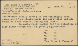 The Baker & Taylor Co. postcard to Sacco-Vanzetti Defense Committee, New York, N. Y., June 12, 1934
