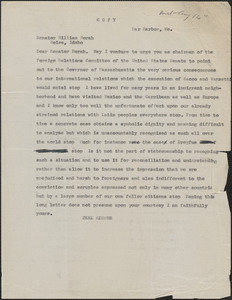 Jane Addams typed letter (copy) to William Borah, Bar Harbor, Me., August 16, [1927]