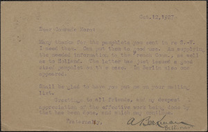 A. Berkinan autograph note (postcard) to Joseph Moro, St. Cloud, France, October 12, 1927