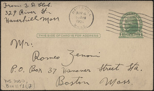 Bianchi autograph postcard signed, in Italian, to Romeo Zenoni, Haverhill, Mass., November 4, 192[7?]