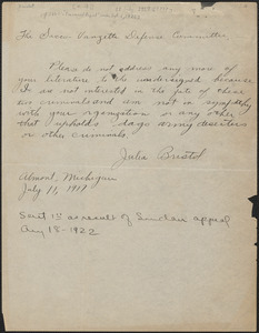 Julia Bristol autograph letter signed to Sacco-Vanzetti Defense Committee, Almont, Mich., July 11, [1917?]