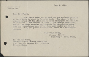 [Anna] Bloom typed note signed to [Amleto Fabbri], Brookline, Mass., June 4, 1926