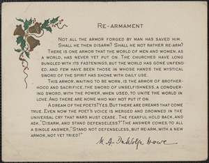 [Elizabeth] Glendower Evans printed Christmas card: Re-Armament by M. A. DeWolfe Howe