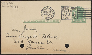 E[lizabeth] G[lendower] Evans autograph postcard to Hayes Jones, Brookline, Mass., November 12, 1923