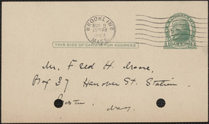 E[lizabeth] G[lendower] Evans autograph note signed (postcard) to Fred H. Moore, Brookline, Mass., May 9, 1923