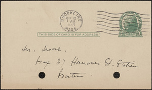 Elizabeth G[lendower] Evans autograph note signed (postcard) to [Fred H.] Moore, Brookline, Mass., May 19, 1923