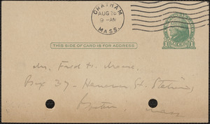 Elizabeth G[lendower] Evans autograph note signed (postcard) to Fred H. Moore, Chatham, Mass., August 28, 1923