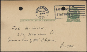 E[lizabeth] G[lendower] Evans autograph note signed (postcard) to Fred H. Moore, Boston, Mass., February 6, 1924