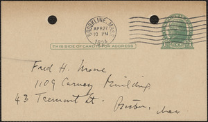 Elizabeth G[lendower] Evans autograph note signed (postcard) to Fred H. Moore, Brookline, Mass., April 27, 1924