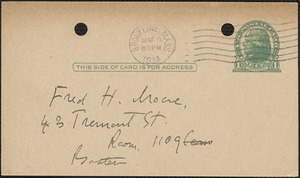E[lizabeth] G[lendower] Evans autograph note signed (postcard) to Fred H. Moore, Brookline, Mass., May 9, 1924