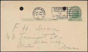 E[lizabeth] G[lendower] Evans autograph note signed (postcard) to F[red] H. Moore, Boston, Mass., July 28, 1924