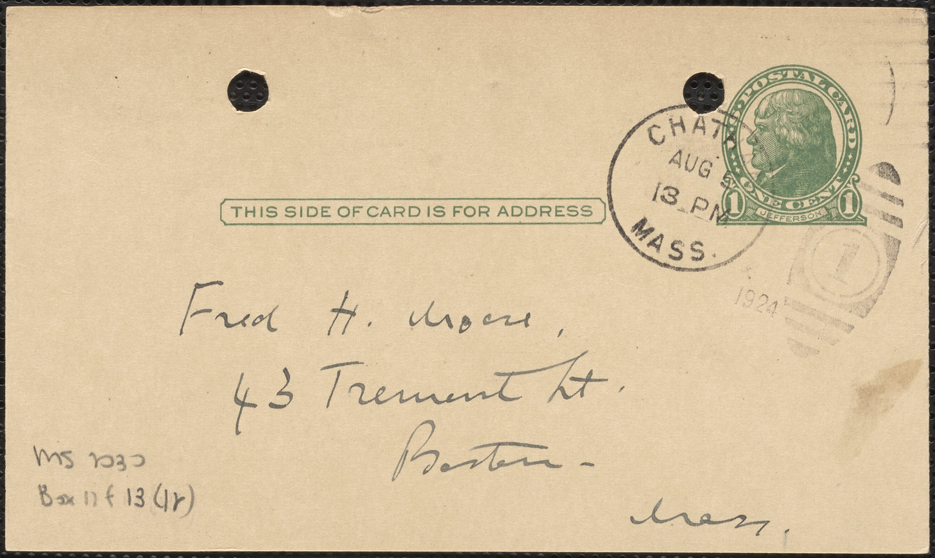 E[lizabeth] G[lendower] Evans autograph note signed (postcard) to Fred H. Moore, Chatham, Mass., August 5, 1924
