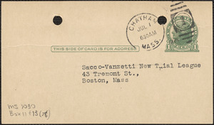 E[lizabeth] G[lendower] Evans autograph note signed (postcard) to Sacco-Vanzetti New Trial League, Chatham, Mass., July 1, 1924