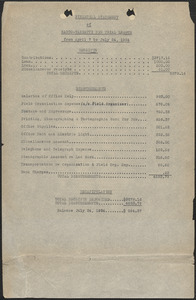 Sacco-Vanzetti New Trial League typed document: Financial Statement of Sacco-Vanzetti New Trial League from April 7 to July 24, 1924