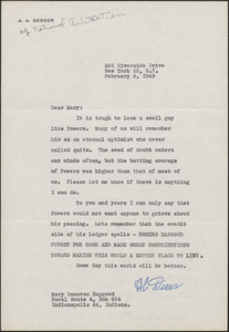 A. A. Desser (National Arbitration) typed letter signed to Mary [Donovan Hapgood], New York, N. Y., February 6, 1949