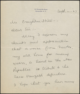 Abby B. Bates autograph note signed to Creighton [J.] Hill, Bronxville, N. Y., September 11, 1927