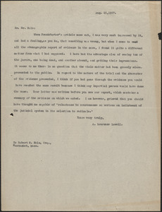 A. Lawrence Lowell typed letter (copy) to Robert Hale, [Cambridge, Mass.], August 15, 1927