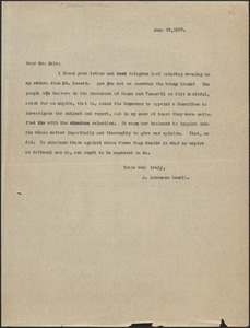 A. Lawrence Lowell typed letter (copy) to [Robert] Hale, [Cambridge, Mass.], August 29, 1927