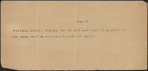 A. Lawrence Lowell quotation, [August 1927]