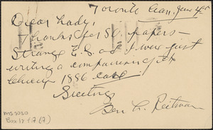 Ben L. Reitman autograph note signed (postcard) to Jeannette Marks, Toronto, Canada, June 4, 1927