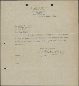 Charles Recht typed note signed to Frank R. Lopez, New York, N. Y., January 14,1921