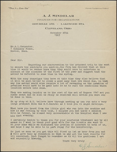 A. J. Sindelar typed letter signed to A. L. Carpenter, Cleveland, Ohio, November 26, 1923