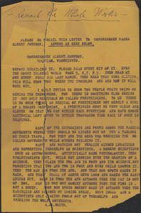 A. B. Smith typed letter to [Sacco-Vanzetti Defense Committee?, 1921-1927]
