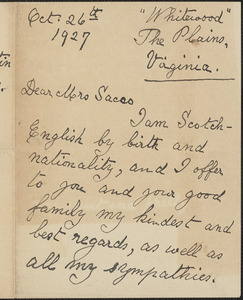 [James] B. Tweedale autograph letter signed to [Rose] Sacco, The Plains, Va., October 26, 1927