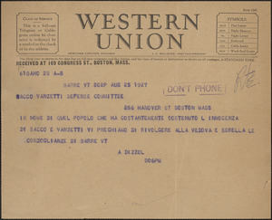 A. Dizzol telegram, in Italian, to Sacco-Vanzetti Defense Committee, Barre, Vt., August 25, 1927