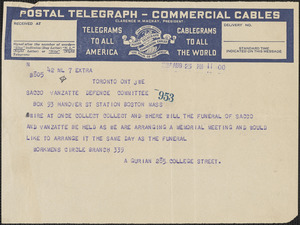 A. Gurian telegram to Sacco-Vanzetti Defense Committee, Toronto, Ontario, August 23, 1927