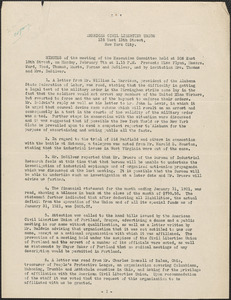 American Civil Liberties Union typed minutes, New York, N. Y., February 7, [1921]