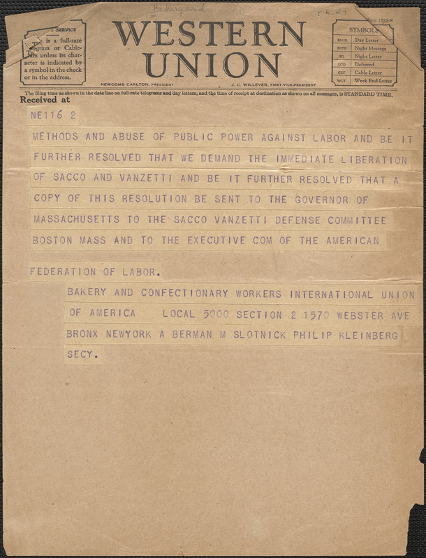A. Berman et al (Bakery and Confectionary Workers International Union of America, Local 5000) telegram to Sacco-Vanzetti Defense Committee, Bronx, N. Y., [1927?]