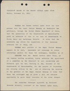Boston Central Labor Union typed resolution, [Boston, Mass.], February 20, 1921